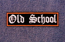 Old School Biker Motorcycle Patch Orange and White Old English