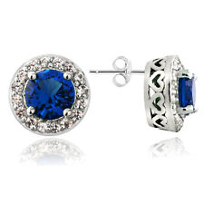 925 Silver 2.5ct Lab Created Blue & White Sapphire Round Stud Earrings