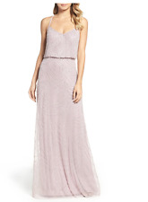 Adrianna Papell Light Heather Silver Beaded Blouson Gown sz 8  Bridesmaid Prom