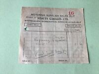Stouts Garage Whitehaven Workington Barrow & Carlisle 1936 Receipt  Ref 49900