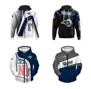 Los Angeles Rams Fans Hoodie Zip Up Sweatshirt Casual Jacket Sportwear Gift