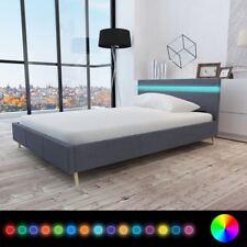 vidaXL Cama Doble Matrimonio LED Cuero Artificial Gris Claro/Oscuro Varias Hogar
