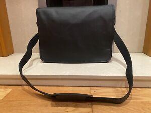 Genuine Black Leather messenger Real satchel Laptop bag soft briefcase shoulder