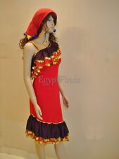 Egyptian Belly Dance Red Galabeya ISKANDARANI BALADI COSTUME Dress With Scarf