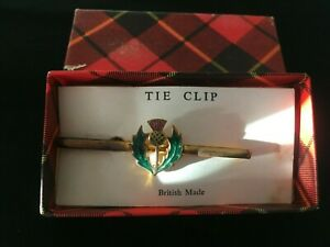 Vintage Gold Metal  Scottish Thistle  Tie Pin   Boxed    Lovely  Gift  SCOTLAND