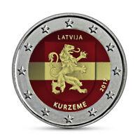 Lettland 2 Euro Münze Kurzeme 2017 Historische Regionen Kurland in Farbe