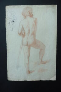 DUTCH SCHOOL 1882 - SUPERB STUDY MALE NUDE AND SKELETON - RED CHALK DRAWING