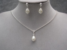 Pearl Tear Drop Necklace Earrings Set Bridal Bridesmaid Ladies Girls Childs V10