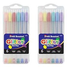BAZIC 6 Fruit Scented Glitter Color Gel Pen w/ Case 2 Pack Total 12.