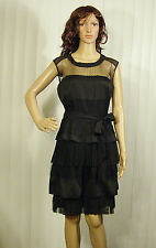 NWT MAX&CLEO MSRP $168 Size 6 BLACK LACE DRESS SEE THRU SHOULDER 6 LAYERS$59.95