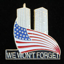 WE WON'T FORGET 9-11 WTC USA FLAG HAT LAPEL PIN NY NEW YORK PA VA PATROITIC GIFT