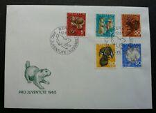 Switzerland Pro Juventute 1965 Hedgehog Rabbit Squirrel Deer Fauna (stamp FDC)