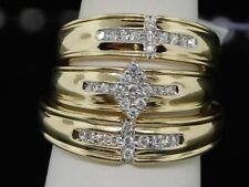 Yellow Gold Over Diamond Bridal Sets Men's Women's Wedding Trio Engagement Ring