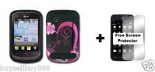 For LG 306G Hybrid Phone Cover Case + Free Screen Protector Purple Love