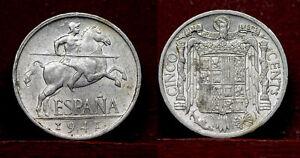 Spain 5 Cents 1941,  Km# 765 , UNC, aluminum