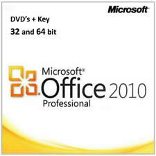 Microsoft Office 2010 Professional - Genuine Product Key and DVD's 32 and 64bit