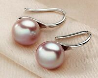 Damen Ohrringe 925 Sterling Silber mit Süßwasser Perlen AAA 9 mm Rhodiniert