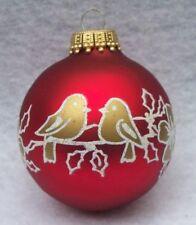 Vtg Krebs Love Birds Floral Glass Christmas Ornament