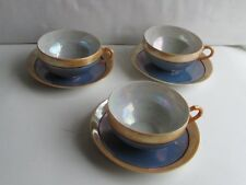 Set of 3  ~ Peach  and Blue Luster Cup and Saucers~ Hand Painted~ Made in Japan