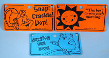 1973 Kellogg's License Plates 3 Cereal Box Premiums Snap Crackle Pop Newton Owl