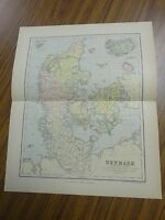 Nice color map of Denmark.  Printed 1891 by Chambers.