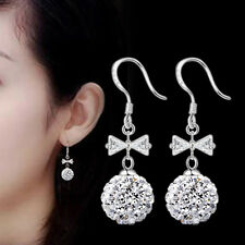 Womens 925 Sterling Silver Bowknot Zircon Crystal Ball Drop/Dangle Hook Earrings