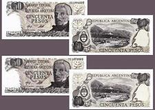 ARGENTINA 50 PESO 1976-78 UNC 2 PCS SET P 301A AND 301B LOOK 2 DIFFERENT PAPER!!