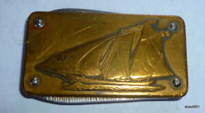 Imperial Stainless Steel & Brass Money Clip Pocket Knife America's Cup Yacht