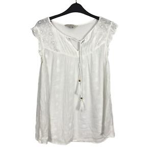 F&F Women's Size 12 EUR 40 White Eyelet Ruffle Short Sleeve Tassel Top Blouse