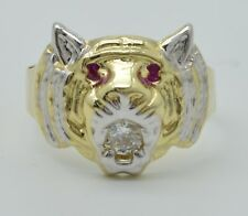 Real Solid 10K Yellow White Gold Men's Tiger Head Ring Ruby Eyes & CZ Size 11