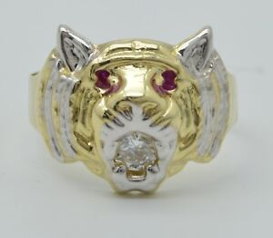 Real Solid 10K Yellow White Gold Men's Tiger Head Ring Ruby Eyes & CZ
