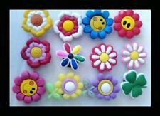 *USA Seller* 12 FLOWERS & SMILEYS Shoe Charms Crocs Jibbitz Bracelet Child Gift