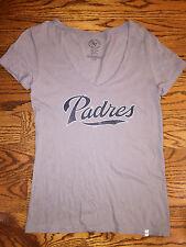 Medium Women's 47 Brand San Diego Padres Baseball V-Neck Distressed Gray T-Shirt