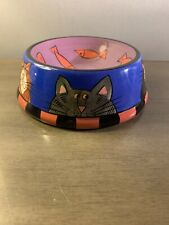 """Catzilla Ceramic Cat Food Dish Water Bowl Fish and Cats By Candace Reiter 5"""""""
