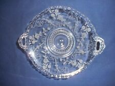 Cambridge Elaine Clear 2 Open Handled Footed Bonbon Flared Etched floral