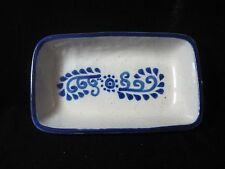 CAIREM POTTERY / STONEWARE SALT GLAZED BUTTER OR RELISH DISH BLUE & GREY