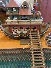 "Vintage Noah's Ark Wooden  24""  Resin Figurine Set 20 animals & Noah BS1"