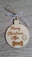 Wooden Christmas personalised pet decoration dog cat tree ornaments bone