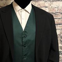 Dark Forest Green Men Solid Tuxedo Suit Dress Vest Waistcoat Formal Wedding Prom