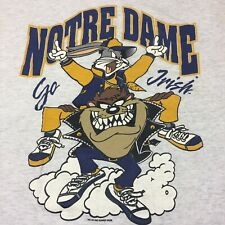 Vintage Norte Dame Large Gray Football T-shirt Helmet Taz Bugs Bunny Go Irish