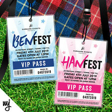 PERSONALISED FESTIVAL STYLE VIP PASSES LANYARDS BIRTHDAY PARTY INVITATIONS