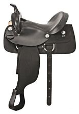 """Western Half leather and Synthetic Black Saddle With Silver Conchos 16"""""""
