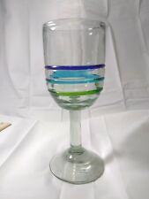 Vintage Tall Hand blown made Art Glass Goblet Wine Cup Heavy Blue Green Stripe