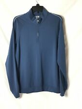 Adidas Golf Climalite Mens Top Shirt Blue Stretch Long Sleeve Half Zip M
