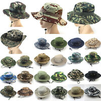 Camo Boonie Bucket Hat Military Hunting Fishing Outdoor Wide Brim Cap Men Women