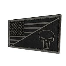 USA american flag punisher skull black ACU subdued parche sew iron on patch