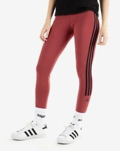 NEW Adidas Women's New Authentic 7/8 3-Stripe Tights - Legacy Red/Black - Large