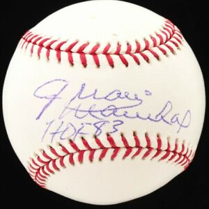 "Juan Marichal Signed OML Baseball Inscribed ""HOF 83"" (JSA COA) case incl"