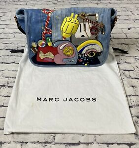 Marc Jacobs Julie Verhoeven Blue Denim Courier Messenger Bag