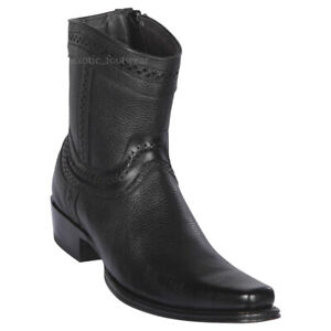 "Men's Los Altos Genuine Leather Ankle Boots Square Toe Side Zipper 6"" Shaft"